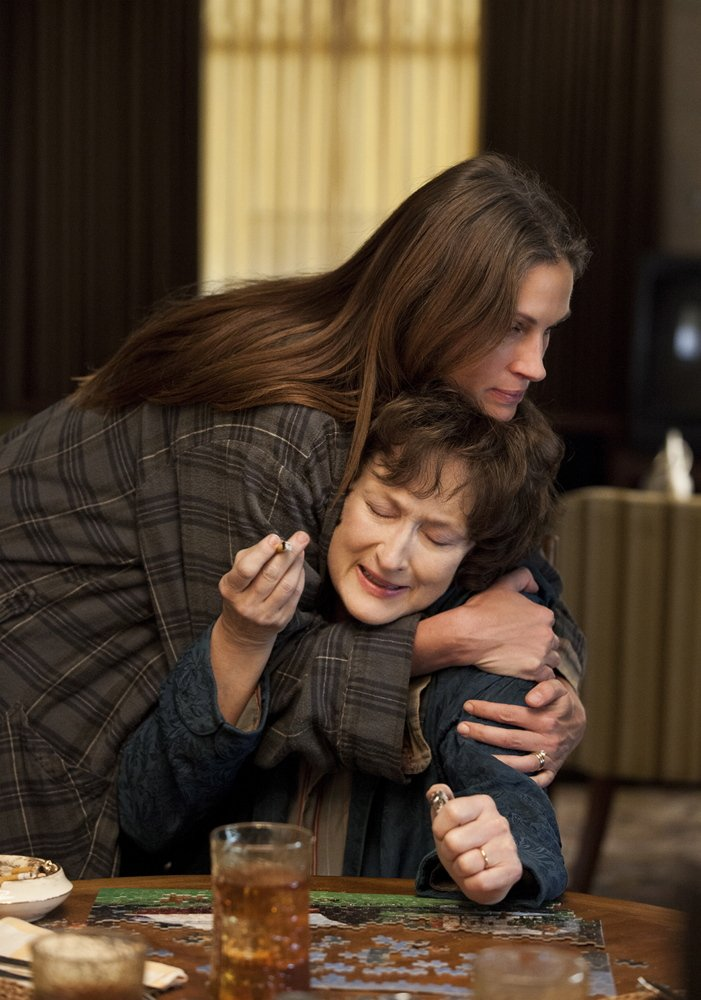"""Julia Roberts, top, and Meryl Streep in """"August: Osage County."""""""