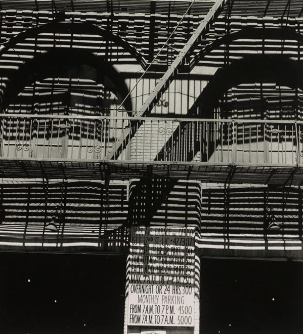 """""""Park Avenue Garage,"""" 1965, printed 1980, gelatin silver print by Ralph Steiner."""