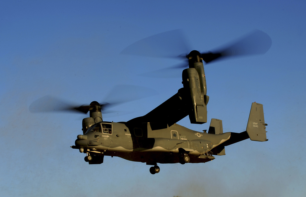 Three U.S. CV-22 Osprey aircraft like this one were hit by gunfire Saturday in South Sudan. World leaders worry that violence in the young country will lead to full-blown civil war.