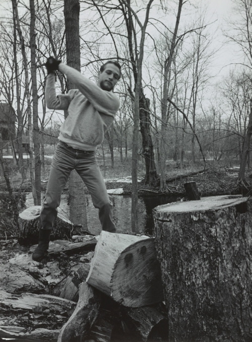 """""""Paul Newman Chopping Wood,"""" 1963, by Phillipe Halsman is part of the new exhibition """"American Vision: Photographs from the Collection of Owen and Anna Wells"""" at the Portland Museum of Art."""