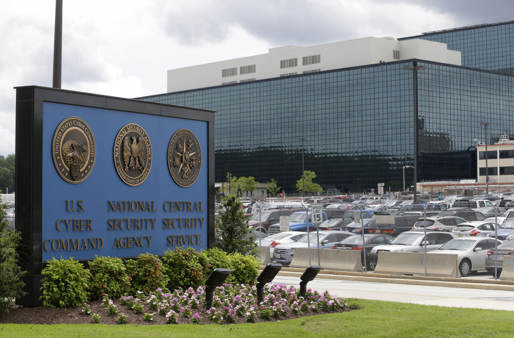This June 6, 2013 file photo shows a sign outside the National Security Agency (NSA) campus in Fort Meade, Md. A civil rights lawyer says the American Civil Liberties Union (ACLU) is very disappointed that a New York judge has found that a government program that collects millions of Americans' telephone records is legal.