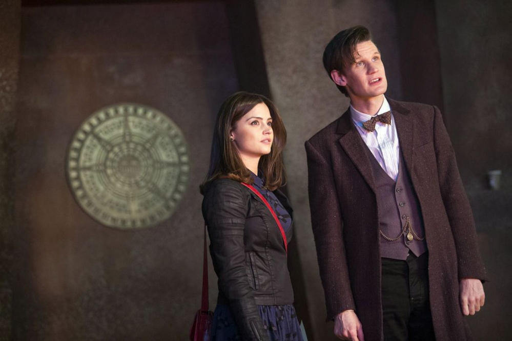 Jenna-Louise Coleman as Clara Oswald and Matt Smith as the Doctor.