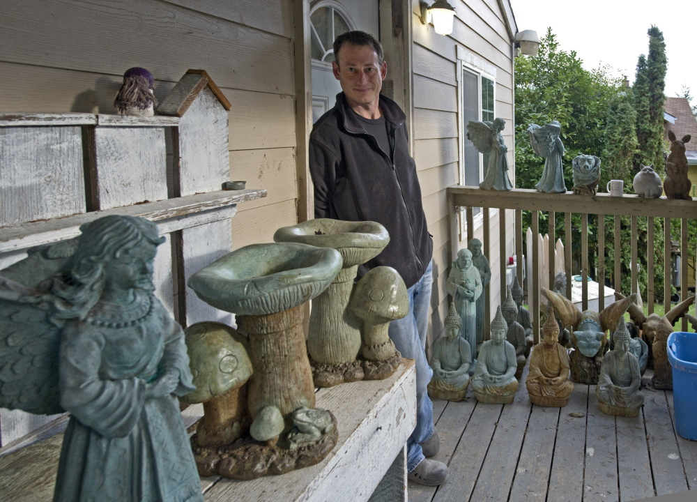 Tammy and Shawn Christensen make garden gnomes and other outdoor statuary on their property in Tacoma, Wash. A lot of their work consists of fairly standard concrete toads, cats, gargoyles and the like, but some of their gnomes are, well, a bit rude. They might be picking their noses or sticking their tongues out. The naughty gnomes, Shawn Christensen says, are very popular.
