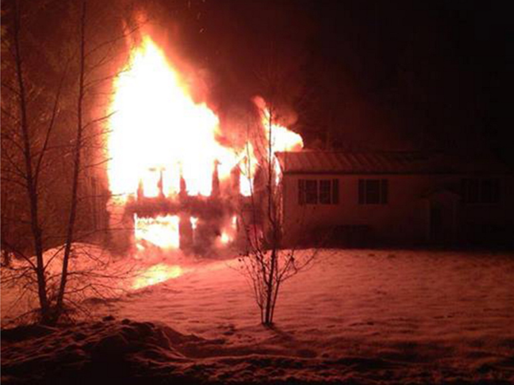 A two-alarm fire destroyed a two-story garage on Haley Road in Berwick on Tuesday.
