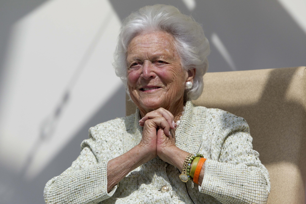 In this Thursday, Aug. 22, 2013 file photo, former first lady Barbara Bush listens to a patient's question during a visit to the Barbara Bush Children's Hospital at Maine Medical Center in Portland, Maine. Former first lady Barbara Bush has been hospitalized in Houston with a respiratory-related issue, Tuesday, Dec. 31, 2013. A statement Tuesday night from the office of her husband, former President George H.W. Bush, said she was admitted to Houston Methodist Hospital on Monday.