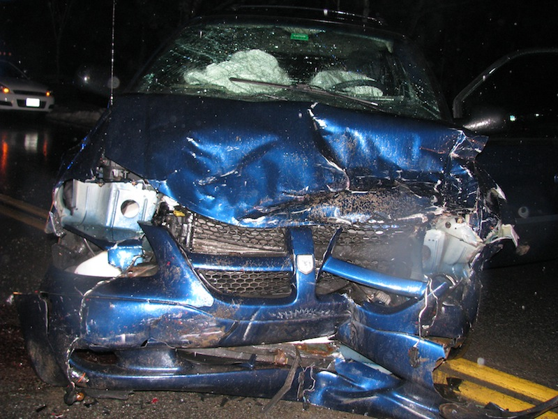 Five people were taken to the hospital Monday night after a two-vehicle crash outside the Eagles club on Route 1.