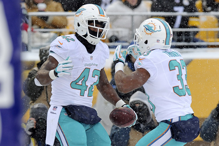 Miami Dolphins tight end Charles Clay, left, celebrates with unning back Daniel Thomas after a touchdown during a game against the Pittsburgh Steelers on Sunday.