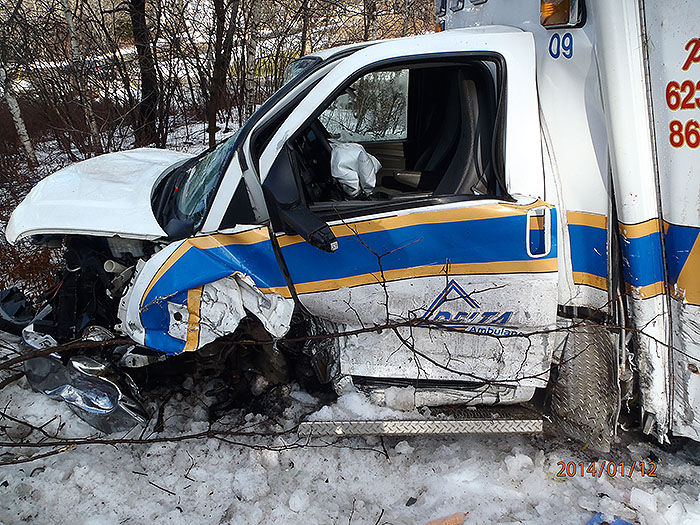 Five people were taken to hospitals following a crash Sunday morning on Route 17 in Windsor involving a Delta Ambulance vehicle and an SUV.