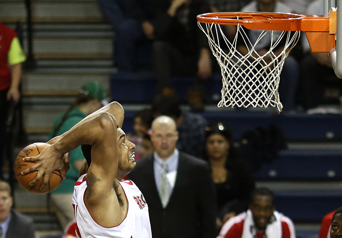 Fab Melo of the Red Claws put the exclamation point on Maine's 102-96 victory over Springfield on Tuesday. Melo has been traded as part of a four-team deal.