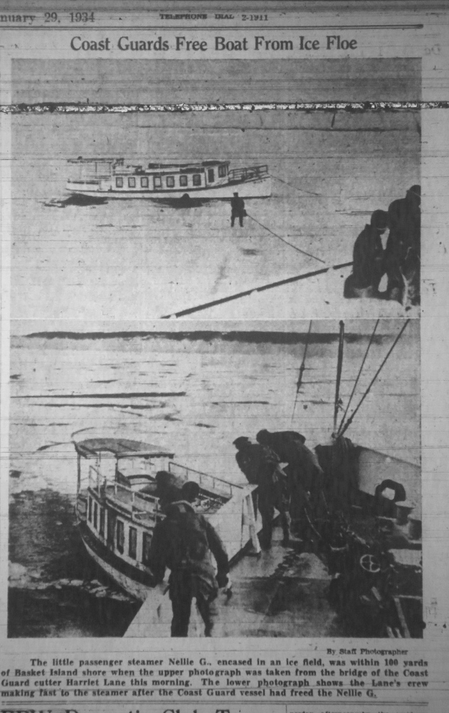A front page story with photos of Casco Bay Lines boat Emita stuck in the ice more than 200 yards from Peaks Island in a Portland Press Herald front-page photo published Feb. 26, 1934. The boat's passsengers are walking across the ice to get to the island.