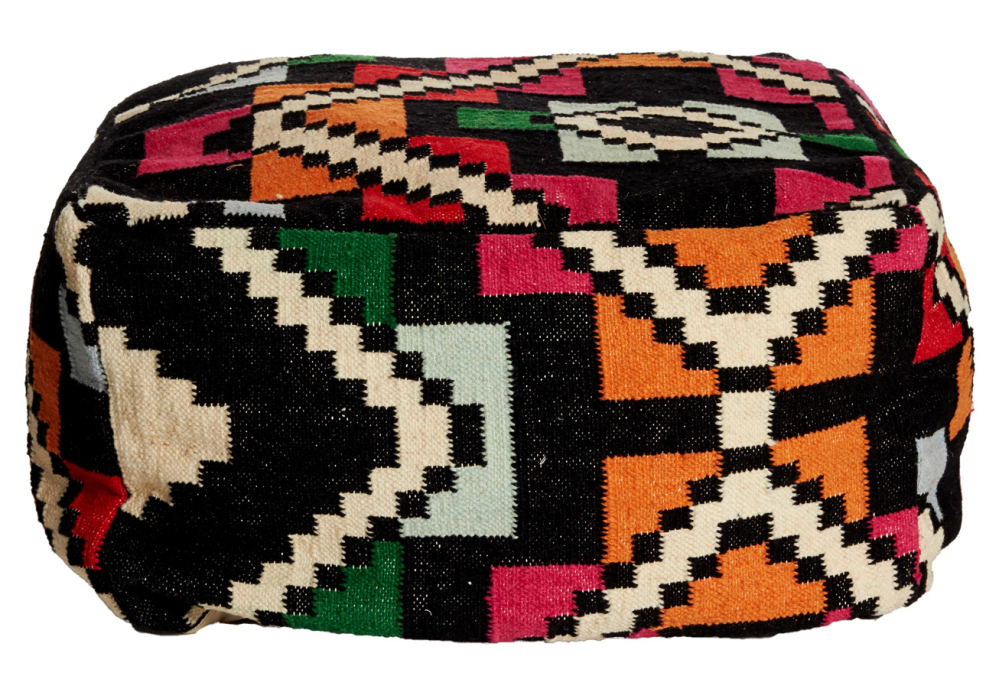 Poufs like these by Topkapi Kilim offer low-profile, kid-friendly seating. With knitted, faux leather or kilim-style upholstery, poufs are stylish, rugged and portable – perfect for a modern home's play area.