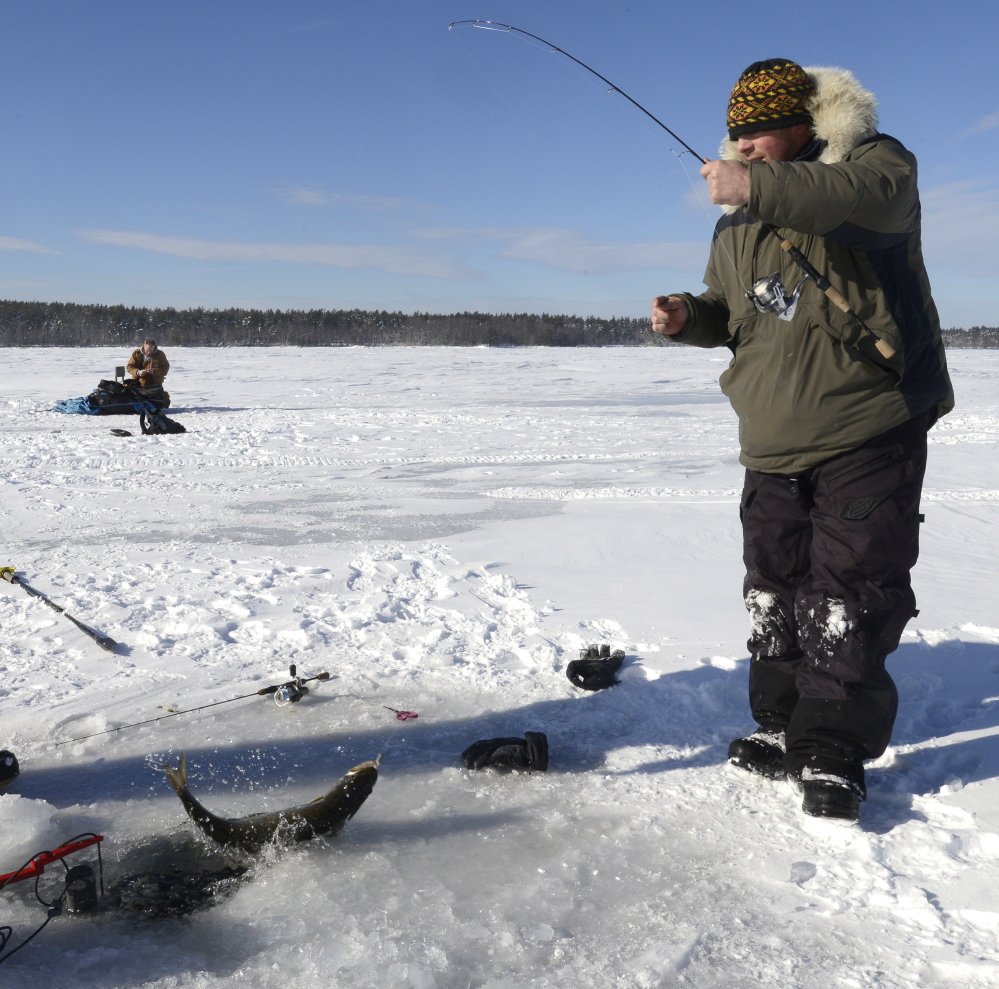 Mike Lorello of South Portland catches a togue at Lower Bay.