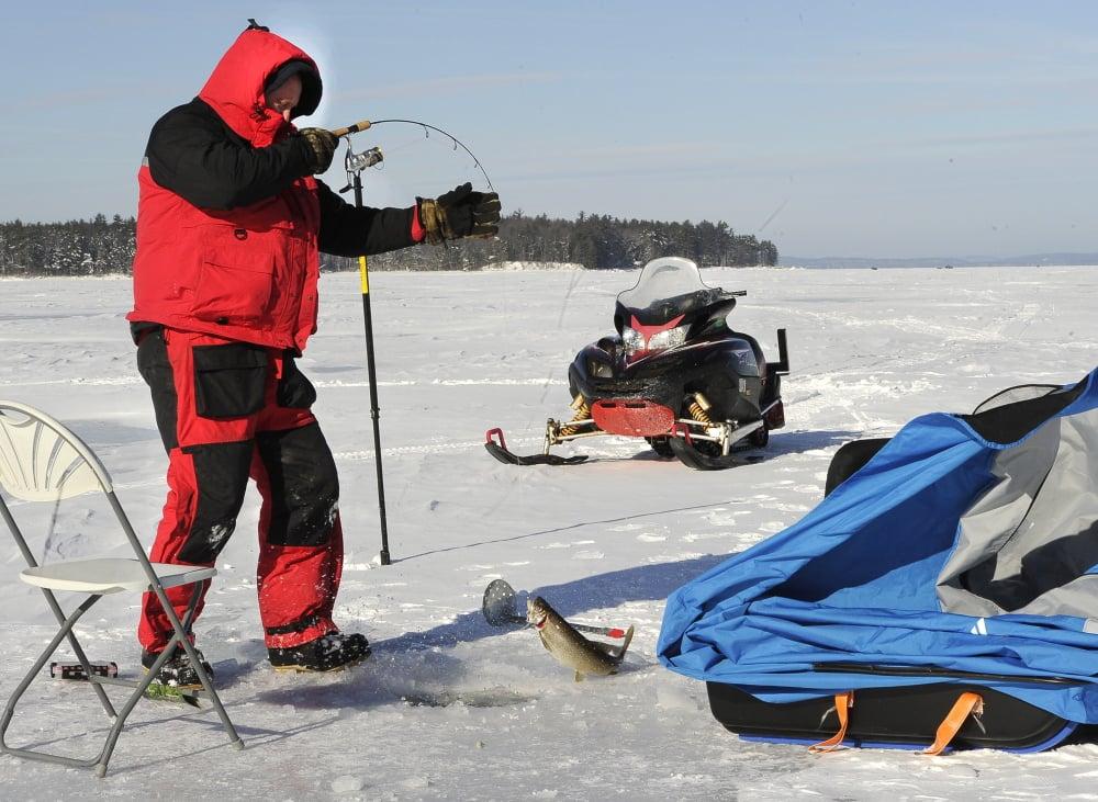 Ice fishing season weeks early on sebago lake the for Maine ice fishing