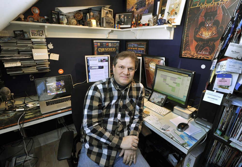 Ben Sawyer, a developer of 'serious games,' works out of his South Freeport home. The software products apply video game technology to practical challenges.