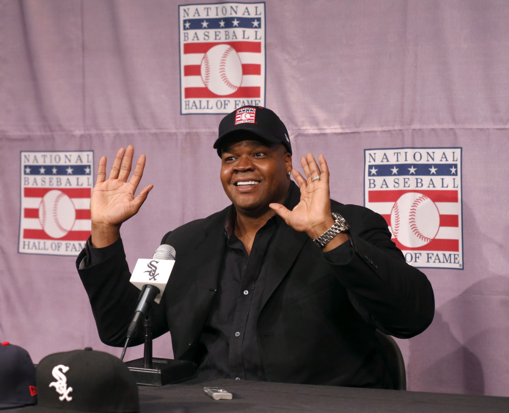 Chicago White Sox slugger Frank Thomas smiles as he responds to a question during a news conference about his selection into the MLB Baseball Hall Of Fame on Wednesday at U.S. Cellular Field in Chicago.