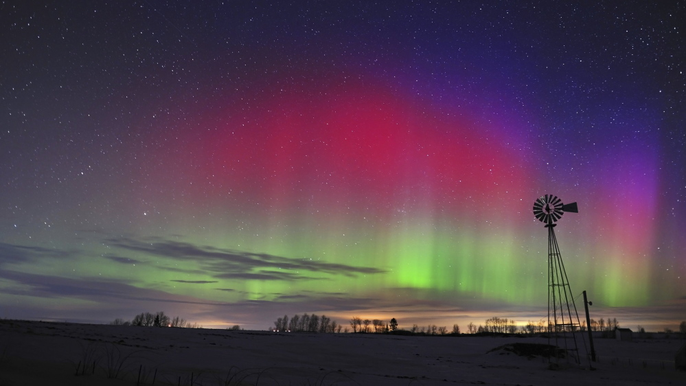 Paul Cyr shot this photo of the aurora borealis on Center Hill in Easton just after 5 a.m., Jan. 25, 2012. A massive solar storm was just hitting the Earth's atmosphere, causing spectacular displays in the night sky.