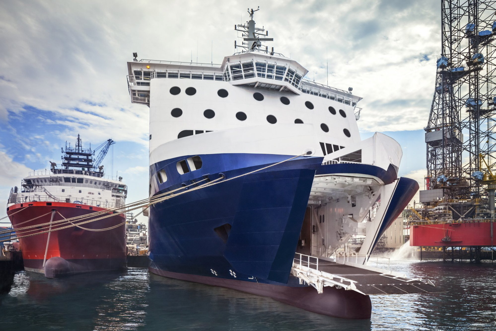 This photo shows the open bow door of the Nova Star. The vessel, built in Singapore, has 162 cabins, two restaurants and a maximum capacity of 1,215 passengers.