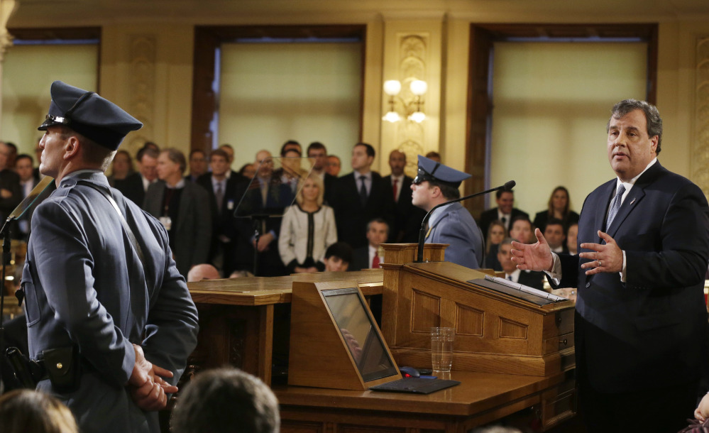 New Jersey Gov. Chris Christie delivers his State of the State address Tuesday in Trenton, N.J. Faced with a widening political scandal that threatens to undermine his second term and a possible 2016 presidential run, Christie apologized again Tuesday.