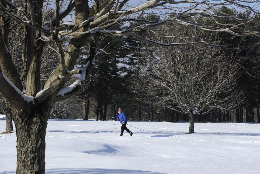 Tom Valente of Portland cross-country skis in Portland. This winter, a number of events for ski and snowshoe fans are planned in Maine.