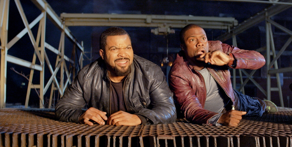 """Ice Cube, left, and Kevin Hart in a tight spot in """"Ride Along."""""""