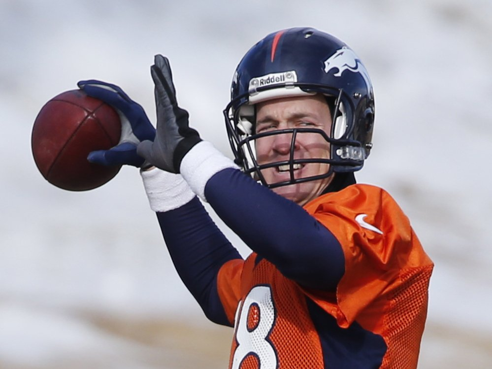 Denver Broncos quarterback Peyton Manning throws during practice earlier this month. The Broncos lost to New England in November, but it's been six years since Manning lost a rematch to a team that beat him earlier in the season.
