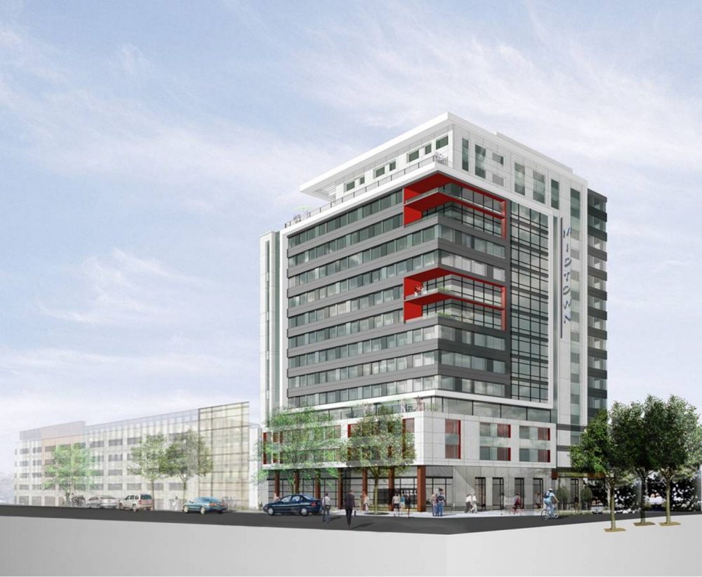 An artist rendering of the 'midtown' project, Phase I.