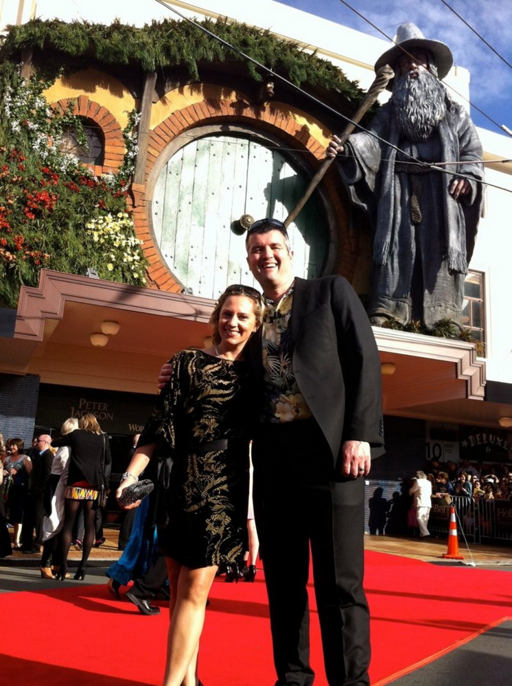 "Eric Saindon and his wife, Beth, attend the premiere of ""The Hobbit: An Unexpected Journey"" in Wellington, New Zealand."
