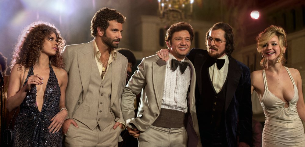 """From left, Amy Adams, Bradley Cooper, Jeremy Renner, Christian Bale and Jennifer Lawrence appear in a scene from """"American Hustle."""" The film was nominated for 10 awards, including an Academy Award for best picture, on Thursday."""