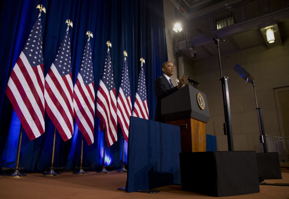 President Obama talks about National Security Agency surveillance Friday at the Justice Department in Washington.