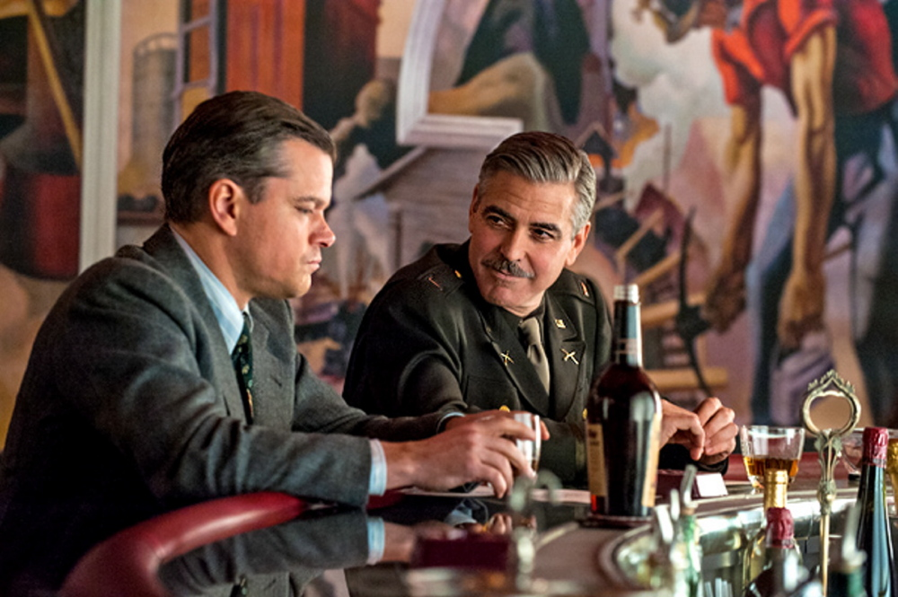 "Matt Damon, left, and George Clooney in ""The Monuments Men."""