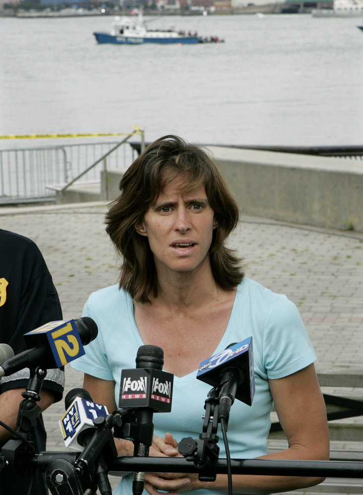 Hoboken Mayor Dawn Zimmer speaks to the media as she stands near the Hudson River in Hoboken, N.J., in this 2009 photo.