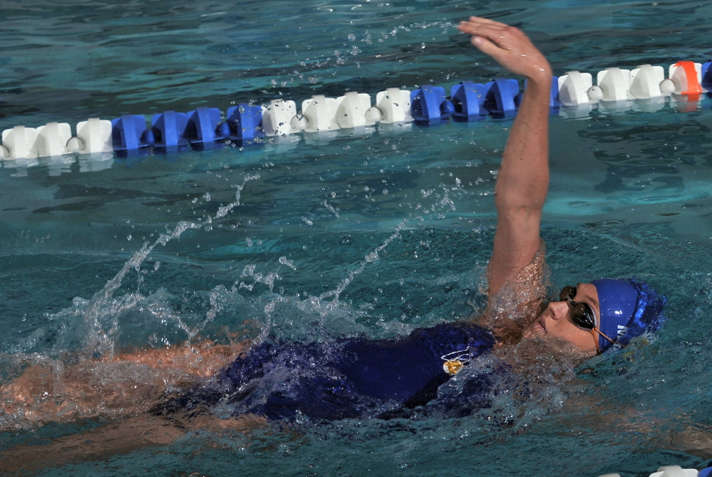 Adrianne Madden, a Falmouth native who swims for Wheaton College, has returned from surgery to reconstruct a chronically injured ankle and is doing so well, she has her sights on the NCAA Division III championships.