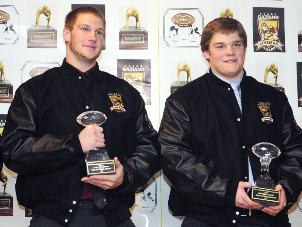 Oak Hill defensive lineman Luke Washburn, left, and Sanford offensive lineman Jedidiah Scott won the fourth annual Gaziano Awards on Saturday at the Augusta Civic Center.