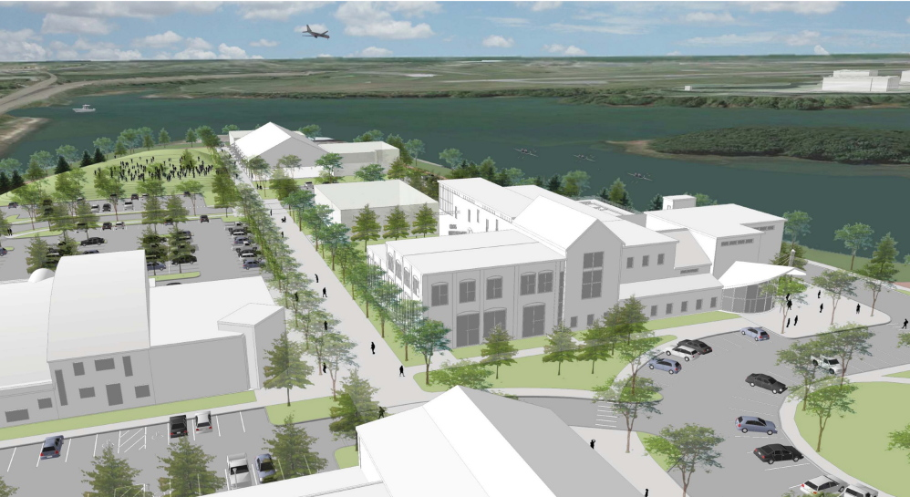 A rendering shows a view of the pedestrian corridor of proposed development on Thompson's Point peninsula in Portland. A new master plan calls for redeveloping roughly 30 acres of former industrial land into a business, arts, sports and transportation complex that will include up to 120 residential condominiums.