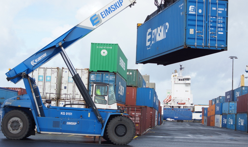 Maine Port Authority officials ordered a reach stacker like this one at the Eimskip yard in Reykjavik. The vehicle is expected to arrive by ship Tuesday evening.