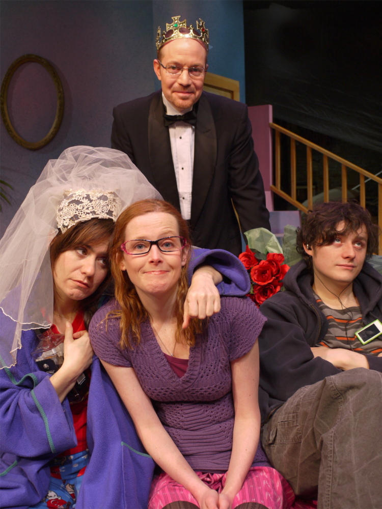 """The cast of The Public Theatre's """"Tigers Be Still,"""" from left, Rebecca Hart, Joseph Tisa, Anna O'Donoghue and Noah Witke."""