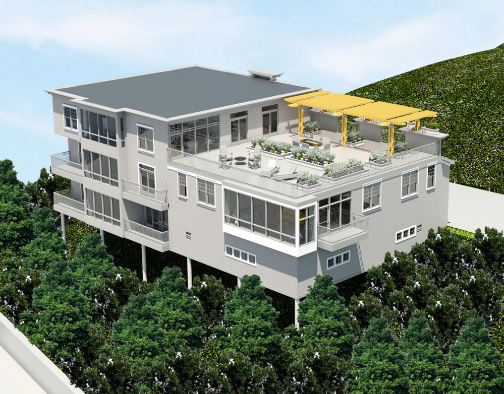 An architect's rendering shows a proposed residential project on Sheridan Street that would be built on a 45-degree slope, requiring pier supports as tall as 14 feet.