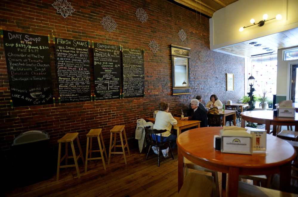 Cobblestones on Main Street in Biddeford serves lunch and dinner in an inviting and warm setting.