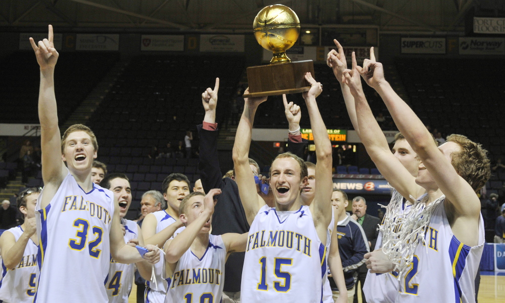 Scenes like these may not be shown on television in this season's high school basketball championship tournaments: Falmouth captain Grant Burfeind holds the Gold Ball aloft after his team's victory over Medomak Valley in last year's Class B title game