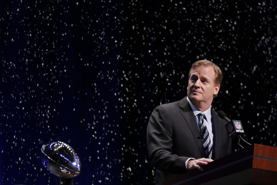NFL comissioner Roger Goodell speaks at a news conference Friday in New York. Goodell announced proposed changes for the NFL, including adding two teams to the playoffs.