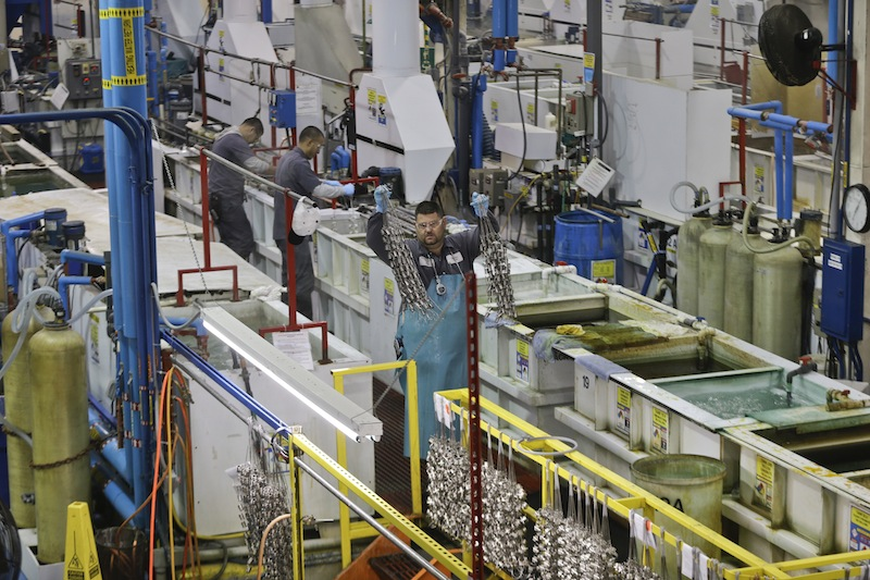 U.S. manufacturers, such as Sheffield Platers Inc. of San Diego, above, had solid growth at the end of last year, a new report shows.