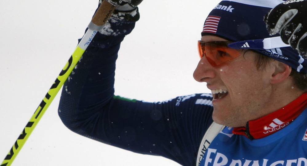 Russell Currier reacts at the finish line after he came in sixth at the World Cup biathlon men's 10 km sprint event in Nove Mesto na Morave on Jan. 14, 2012.