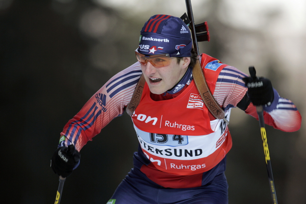 Russell Currier competes at the Biathlon World Championships in Ostersund, Sweden, in 2008. Currier discovered his passion for the sport in junior high school.