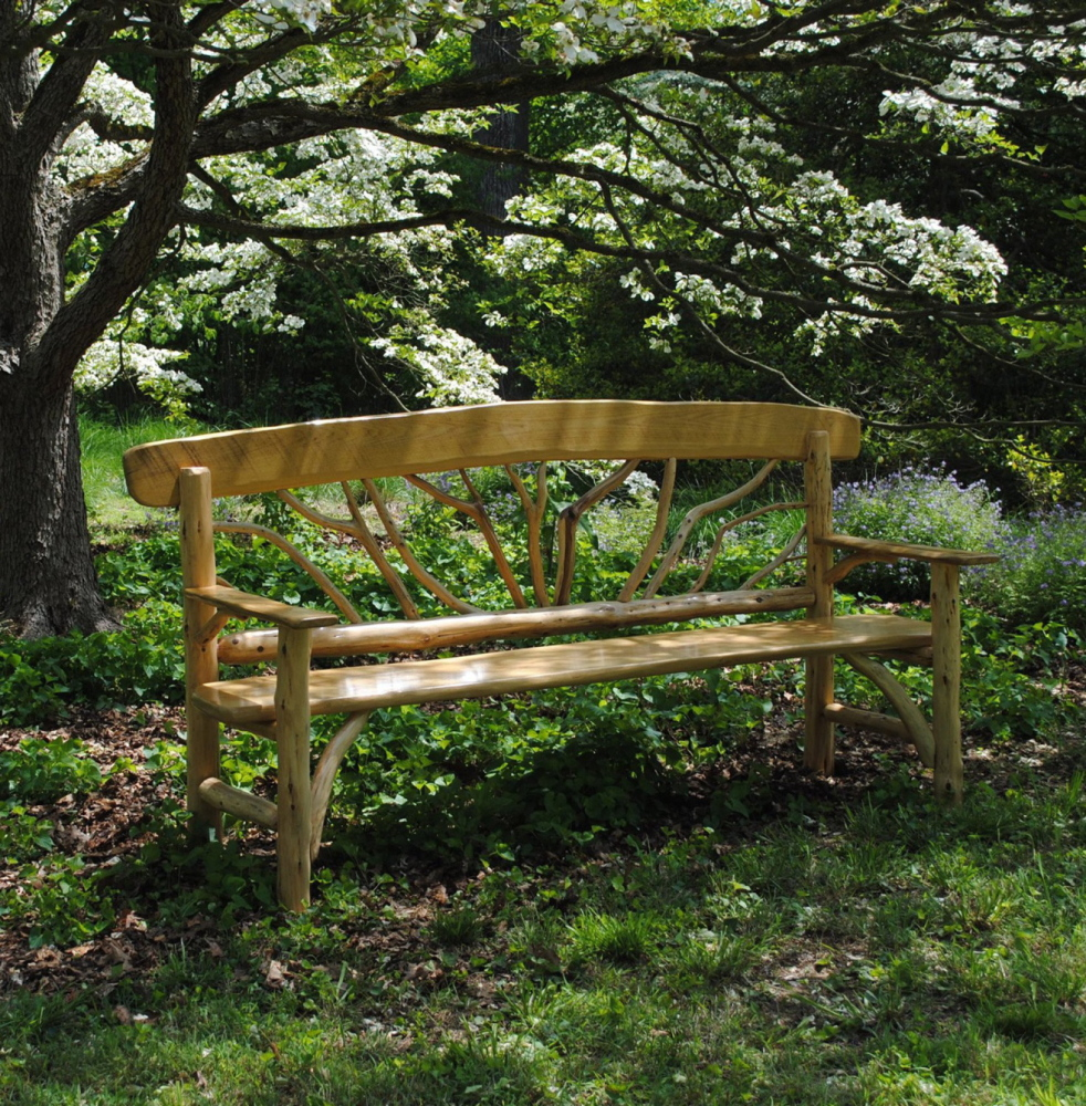 This Hughes bench, of red cedar and black locust, was commissioned for the Mt. Cuba (Pa.) Center.
