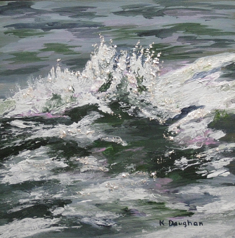 """""""Splash,"""" a 10-by-10 acyrlic painting by Portland artist Kathleen Daughan. She has been selling her paintings on Etsy since 2012."""