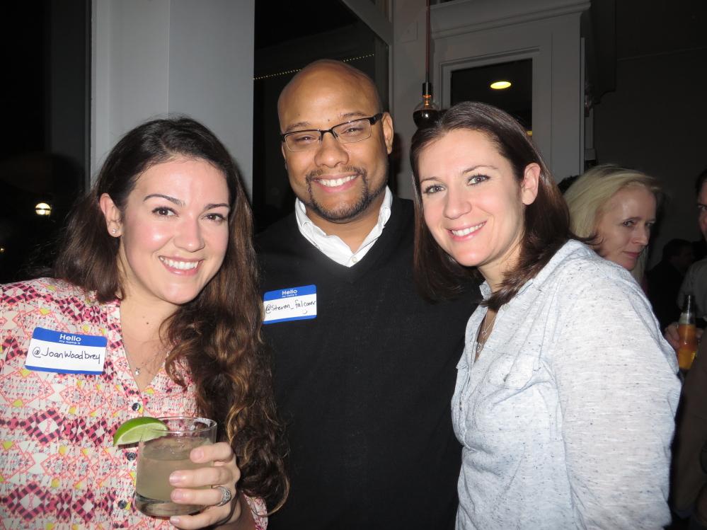 Tweetup organizer Joan Woodbrey with Steven Falconer of South Portland and Lindsay Babayan of Cumberland.