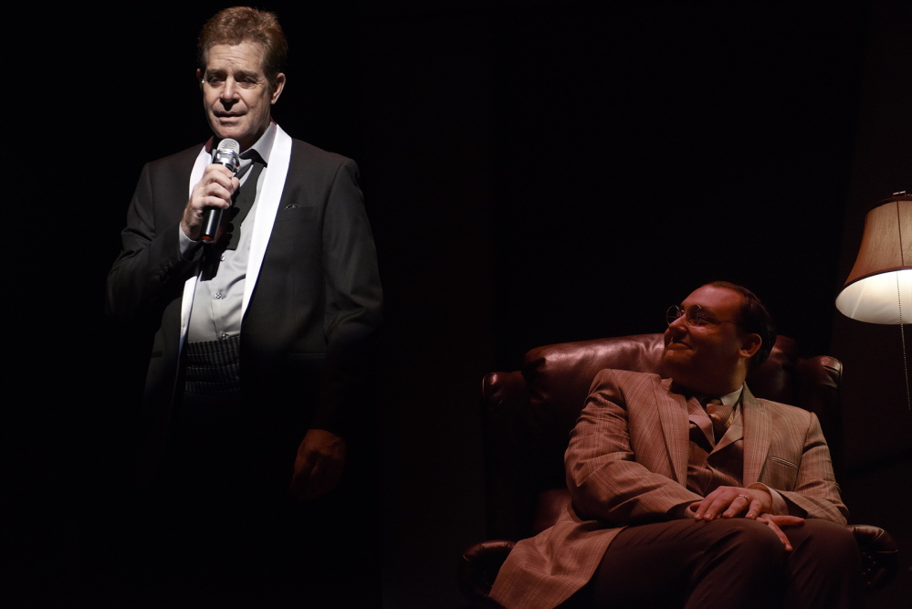 """Robert Yacko is the Crooner and Nicholas Mongiardo-Cooper is Ira Gershwin in """"Words By: Ira Gershwin and the Great American Songbook,"""" continuing through Feb. 16 at Portland Stage Company."""
