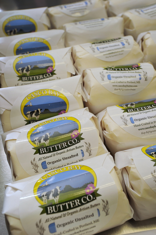Packaged butter is ready to ship.