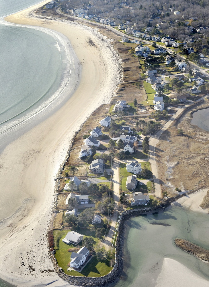 This aerial view shows Goose Rocks Beach in Kennebunkport, where beachfront property owners have won greater rights over allowing public use of the beach.
