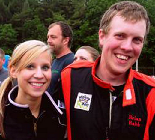 Brian Babb and his sister Lauren, both racers, enjoy a happy moment together.